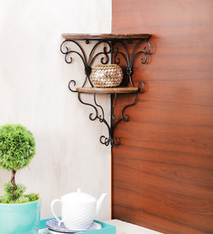 Onlineshoppee Brown Mango Wood Fancy Double Sturdy Bracket Shelf