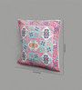 One Good Thing Pink & Blue Canvas 16 x 16 Inch Ukrainian Embroidery Cushion Cover - Set of 2