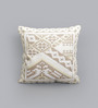 One Good Thing White & Beige Canvas 16 x 16 Inch Aari-Embroidered Cushion Cover - Set of 2