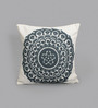 One Good Thing White & Dark Grey Canvas 16 x 16 Inch Suzani-Embroidered Cushion Cover - Set of 2