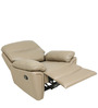One Seater Motorized Recliner Sofa in Half Leather Taupe Colour by Star India