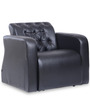 One Seater Sofa with Tufted Back & Arm Rest in Black Colour by Durian