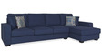 Oritz LHS Three Seater Sofa with Lounger and Cushions in Teal Blue Colour by CasaCraft