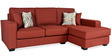 Oritz LHS Two Seater Sofa with Lounger and Throw Cushions in Burnt Sienna Colour by CasaCraft
