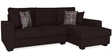 Oritz LHS Two Seater Sofa with Lounger and Throw Cushions in Chestnut Brown Colour by CasaCraft