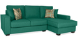 Oritz LHS Two Seater Sofa with Lounger and Throw Cushions in Jade Colour by CasaCraft