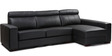 Orlando LHS Leatherette Sofa with Left Side Lounger in Black Colour by Furny