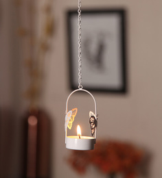 Orlando's Decor White Metal Single Butterfly Hanging Tea Light Holder