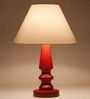 Orange Tree Scarlet Red & Off White Wood Table Lamp