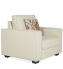 Oritz One Seater Sofa with Cushions in Pale Taupe Colour by CasaCraft