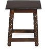 Ornate Square Stool with Walnut Finish by @home