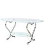 Oval Glass Center Table with Chrome Base by Parin