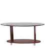 Oval Shaped Glass Top Coffee Table in Walnut Finish by Addy Design