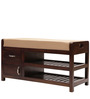 Oviodo Shoe Rack with Seat in Brown Colour by Tezerac