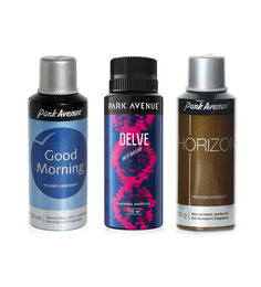 Park Avenue Good Morning, Horizon , Delve Deodorant For Men Pack of 3 - 150mL each