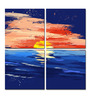 Hashtag Decor Painted Sunset on The Sea Aluminum 17.75 x 17.75 Inch Framed Art Panel