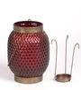Peacock Life Red Glass Candle Holder