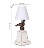 Peacock Life White Fabric Table Lamp