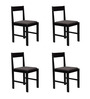 Peter Set of Four Chairs in Wenge Finish with Dark Brown Cushion by Forzza
