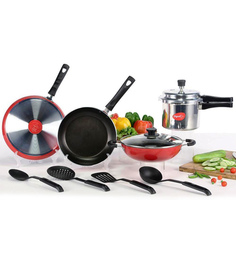 Pigeon Aluminium Cookware Combo With Pressure Cooker - Set Of 7