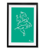 Pickypomp Paper 8 x 12 Inch Lord Ganesha in Green Framed Wall Poster