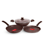 Pigeon Granito Induction Bottom Brown Aluminium Non-stick Gift Set - Set of 3