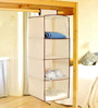Pindia Fancy Foldable 4 Layer Hanging Storage Wardrobe Almirah in Cream