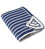 Pluchi Boris Queen-Size Throw Blanket in Navy Blue & White Colour