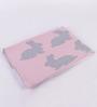 Pluchi Naughty Rabbit Peach & Beige Cotton 39 x 31 Inch Blanket for Babies