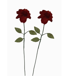 Pollination Red Crystal Artificial Rose Flower - Set Of 2