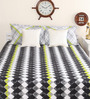 Portico New York Black Cotton Queen Size Geometric Print Bed Sheet with 2 Pillow Covers