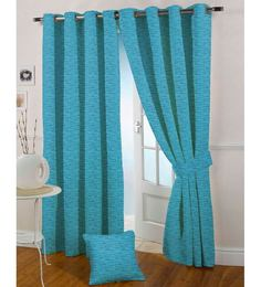 Presto  Aqua Colour  Jacquard Long Door Curtain  9 Ft