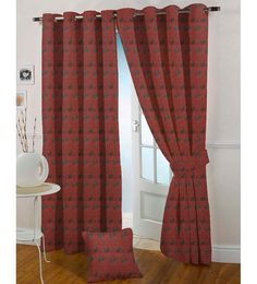 Presto Red Polyester 108 X 46 Inch Floral Eyelet Door Curtain - Set Of 2
