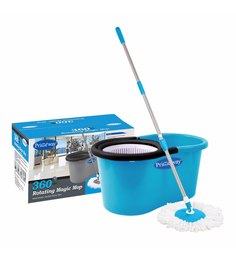 Primeway 360 Degree Rotating Blue & White 5500 ML Magic Spin Mop Set With Microfibre Mop Heads