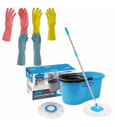 Primeway 360 Degree Rotating Multicolour 5500 ML Magic Spin Mop Set With Gloves