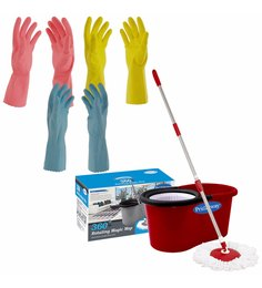 Primeway Rotating Multicolour 5500 ML Magic 360 Degree Spin Mop Set With 3 Gloves