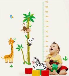 Print Mantras Height Tree Giraffe Monkey Wall Sticker