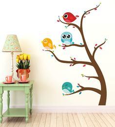 Print Mantras PVC Wall Stickers Beautiful Birds On Tree