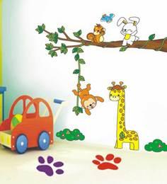 Print Mantras Tree Branch Giraffe Monkey Rabbit For Kids Room Wall Sticker