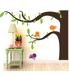 Print Mantras Wall Stickers Beautiful Birds On A Tree