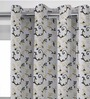 Presto Black & Gold Polyester 84 x 46 Inch Floral Door Curtain - Set of 2