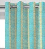 Presto Blue Jacquard Abstract Eyelet Door Curtain - Set of 2