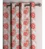Presto Red Poly Cotton 47 x 83 Inch Floral Eyelet Door Curtain - Set of 2