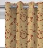 Presto Red & Gold Polyester 84 x 46 Inch Lining Door Curtain - Set of 2