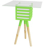 Pride Mellow Wood & Glass Lamp Table with Green Accent by SmalShop