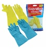 Primeway Yellow & Blue Rubberex Superior Silverlined Hand Gloves - Set of 4