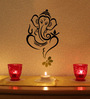 Print Mantras Beautiful God Ganesha and Flower PVC Wall Sticker