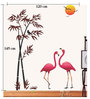 Print Mantras PVC Wall Stickers Beautiful Flamingo Birds Bamboo Tree Sunset