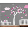 Print Mantras PVC Wall Stickers Beautiful Pink Tree Birds Owl for Kids Room