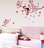 Print Mantras PVC Wall Stickers Wall Decals Pink Branches Monkey